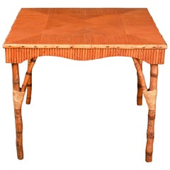 Antique Bamboo Square Game Table