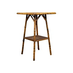Antique Bamboo Table, Oriental Victorian, Lamp, Side, Occasional, circa 1890