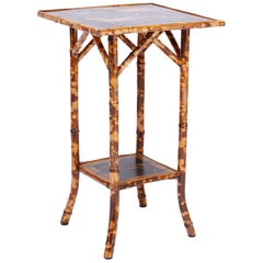 Antique Bamboo Table with Horse and Rider Motif