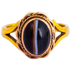 Antique Banded Agate and 9 Carat Gold Ring