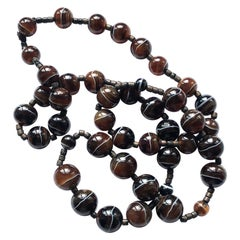 Antique Banded Agate Beaded Necklace