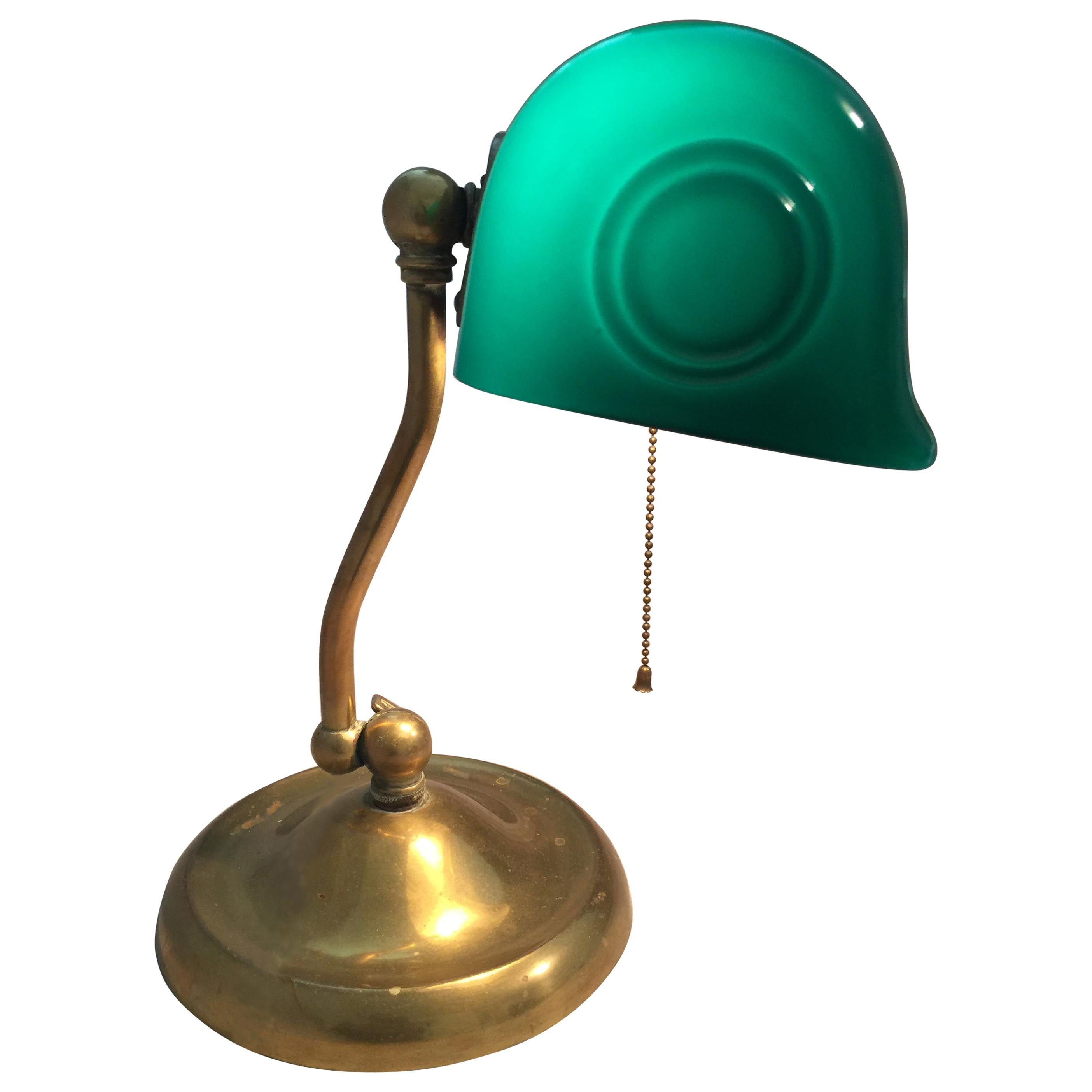 Antique Banker's Desk Lamp w/ Green Shade Signed Verdelite, ca. 1920