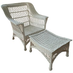 Antique Bar Harbor Wicker Chair and Ottoman