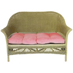 Antique Bar Harbor Wicker Settee Loveseat with Tufted Seat Cushion