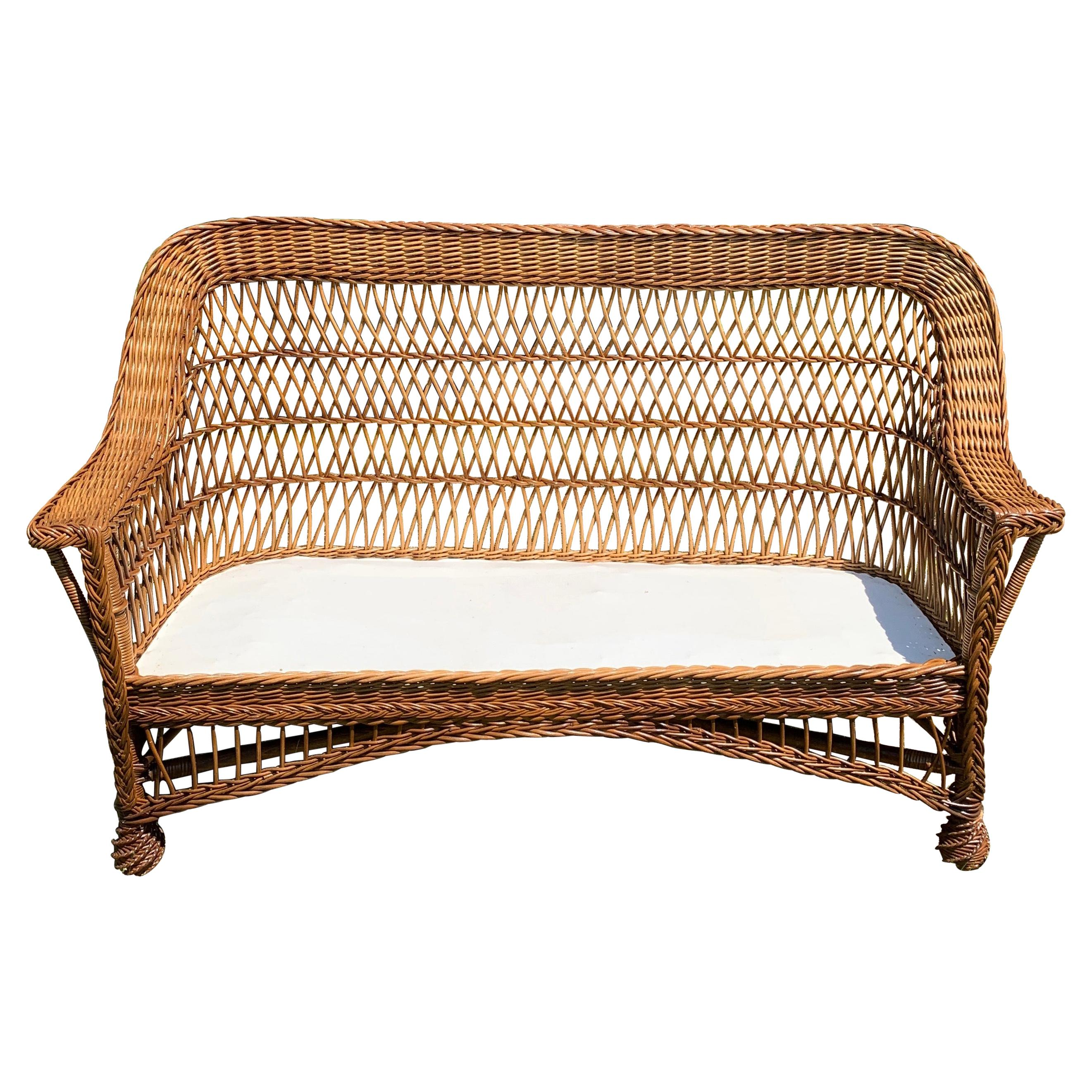 Antique Bar Harbor Wicker Sofa
