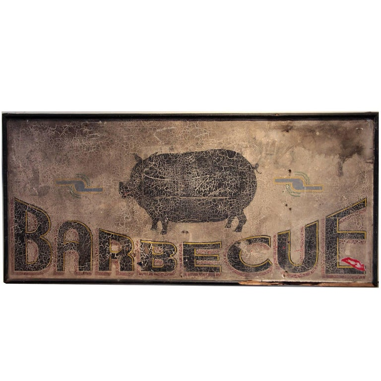 Antique Barbecue Sign For Sale