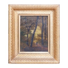 Antique Barbizon School Oil on Board Forest Landscape Painting, circa 1890