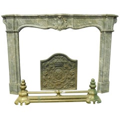 Antique Bardiglio Gray Marble Fireplace Mantel with Shells, 18th Century, Italy