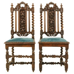 Antique Barley Twist Chairs, Pair of Oak Chairs, Hall Chairs, Scotland 1870