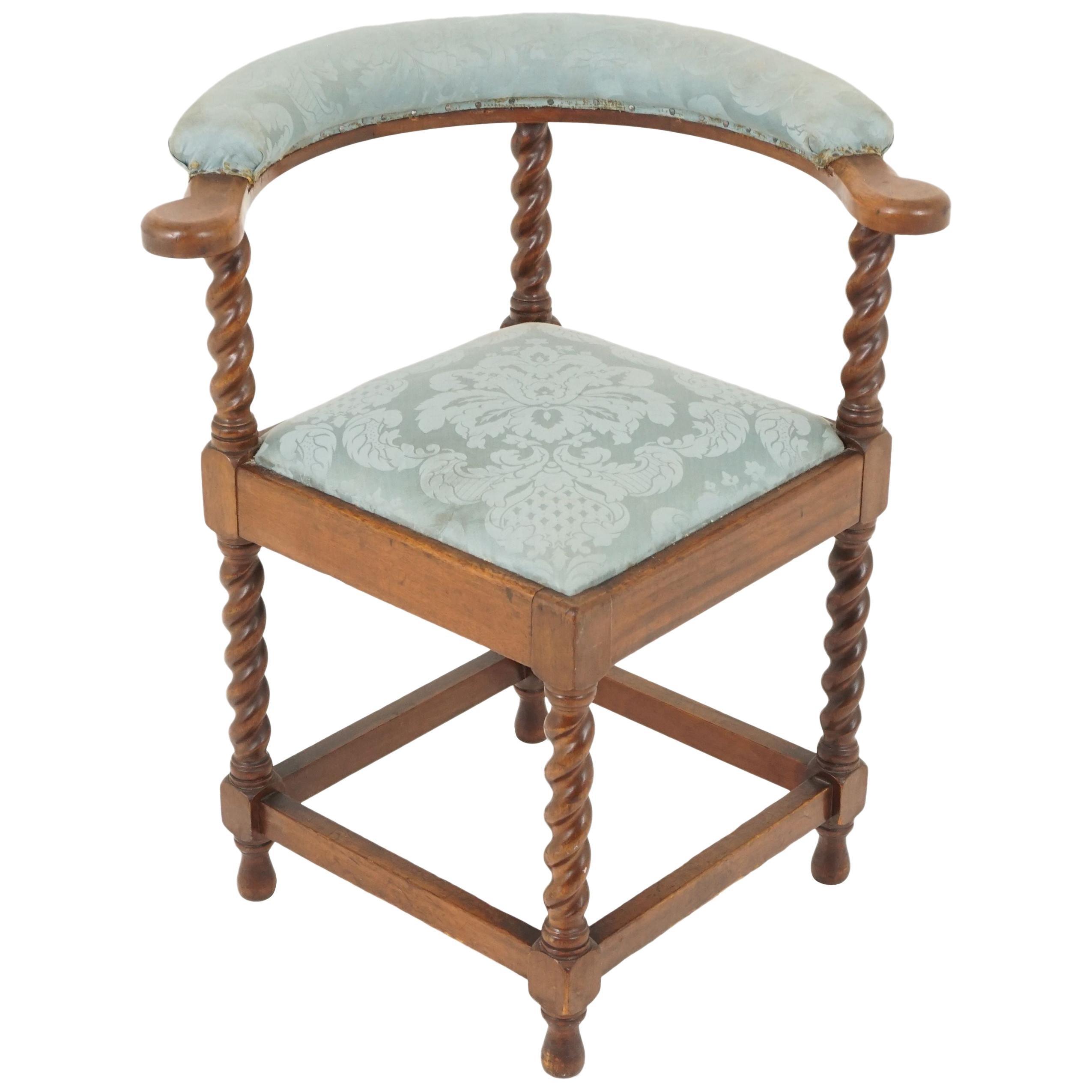 Antique Barley Twist Oak Corner Occasional Chair, Scotland 1920, B2378