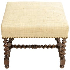 Antique Barley Twist Stool with Cream Linen Upholstery, Europe, 19th Century