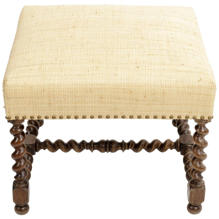 Antique Barley Twist Stool with Cream Linen Upholstery, Europe, 19th Century For Sale