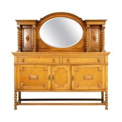 Antique Barley Twist Tiger Oak Mirror Back Sideboard Buffet, Scotland 1698