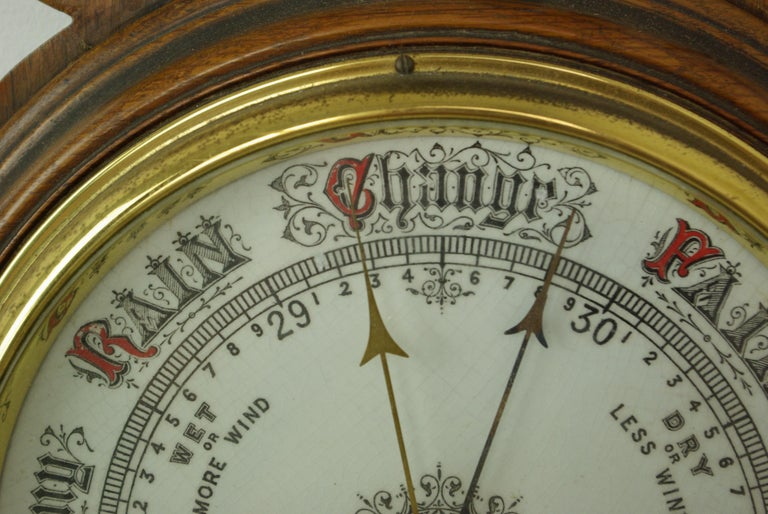 Antique barometer, Aneroid barometer, Decorative Barometer, Carved Oak Barometer, Scotland, 1890, antique furniture, B1282A  Scotland, 1880 Carved pediment top above Thermometer below Deep molded center circle into which barometer is