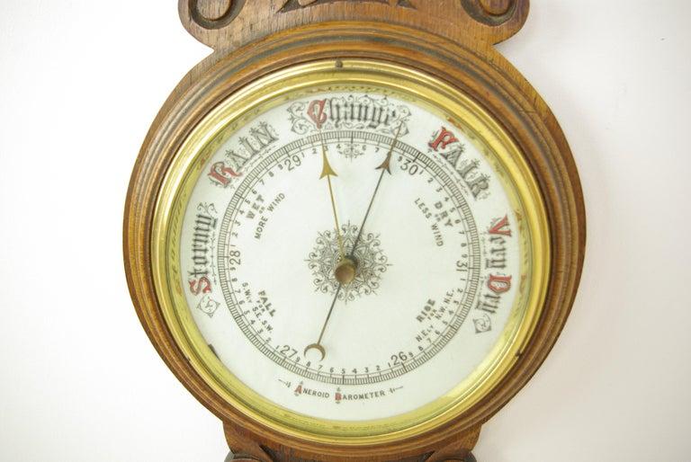 Scottish Antique Barometer, Aneroid Barometer, Carved Oak Barometer, Scotland 1890,B1282A For Sale