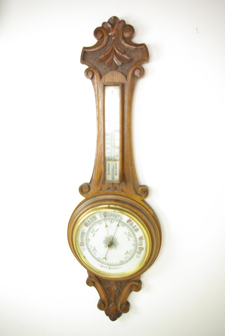 Late 19th Century Antique Barometer, Aneroid Barometer, Carved Oak Barometer, Scotland 1890,B1282A For Sale