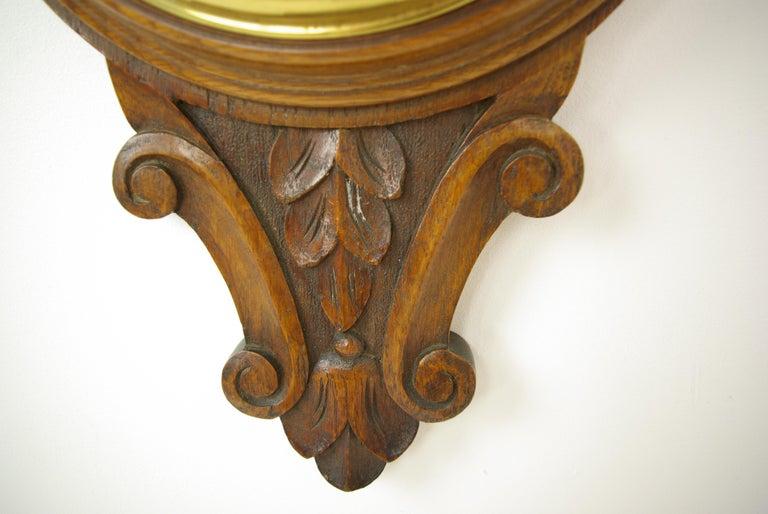 Antique Barometer, Aneroid Barometer, Carved Oak Barometer, Scotland 1890,B1282A For Sale 1