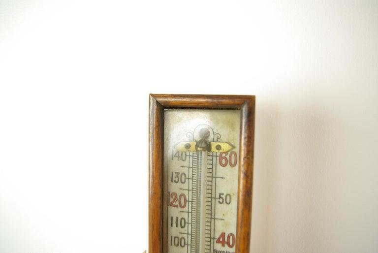 Antique Barometer, Aneroid Barometer, Carved Oak Barometer, Scotland 1890,B1282A For Sale 2
