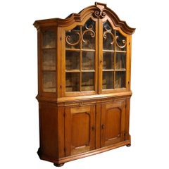 Antique Baroque 18th Century German Solid Oak Farmhouse Display Cabinet