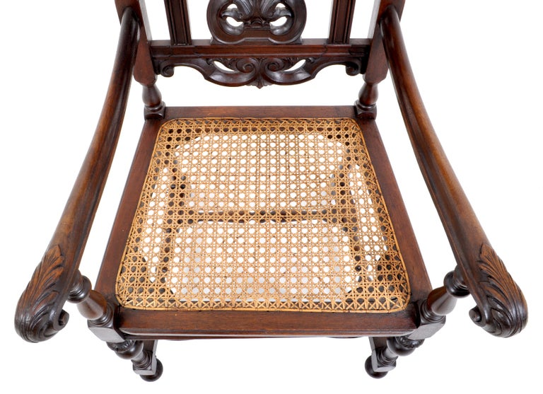Antique Baroque Carved Walnut Throne Chair, circa 1880 For Sale 3