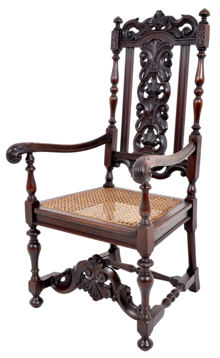 Baroque Revival Antique Baroque Carved Walnut Throne Chair, circa 1880 For Sale