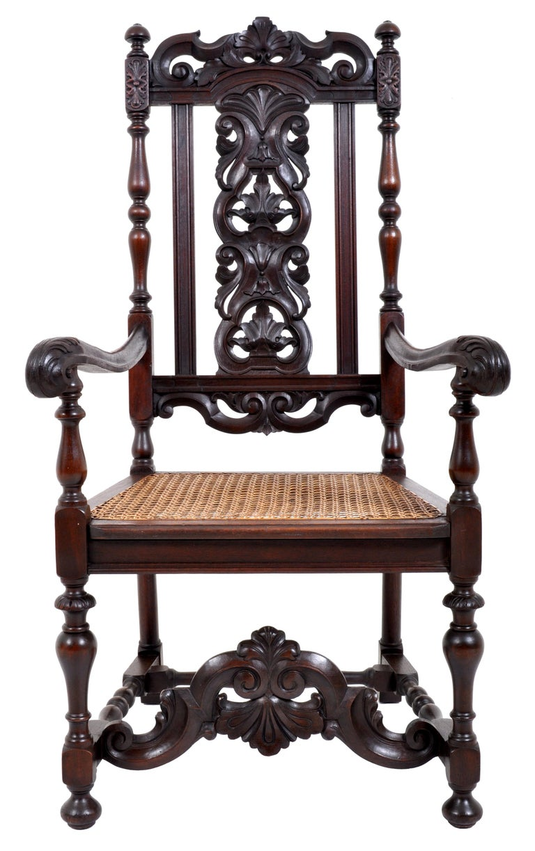 English Antique Baroque Carved Walnut Throne Chair, circa 1880 For Sale