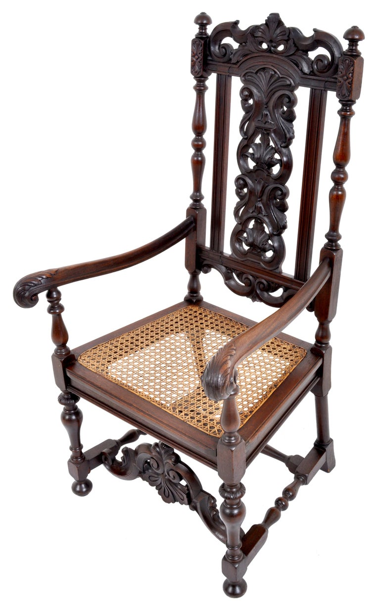 Hand-Carved Antique Baroque Carved Walnut Throne Chair, circa 1880 For Sale