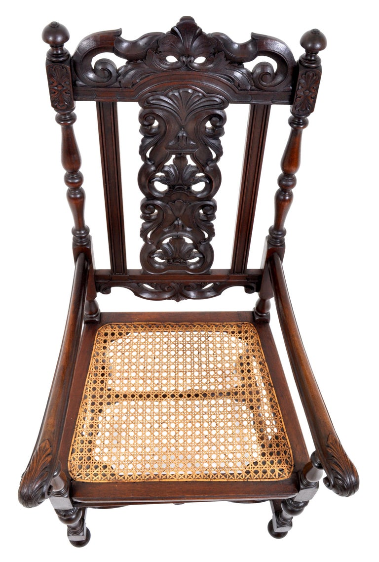 Late 19th Century Antique Baroque Carved Walnut Throne Chair, circa 1880 For Sale