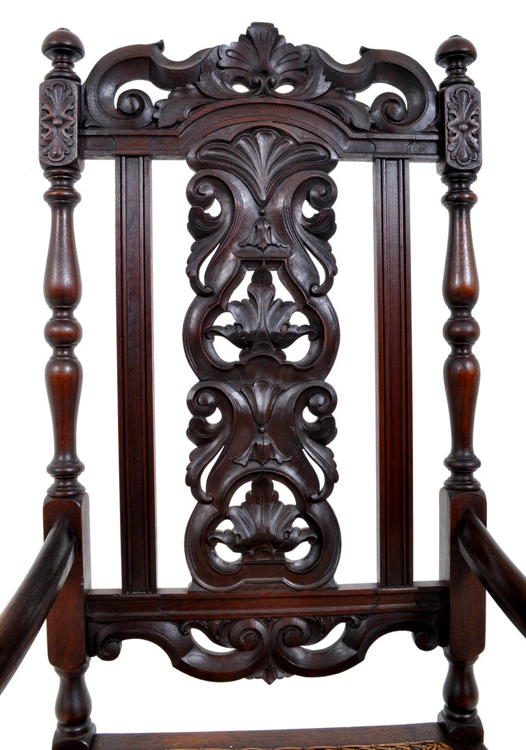 Antique Baroque Carved Walnut Throne Chair, circa 1880 For Sale 1