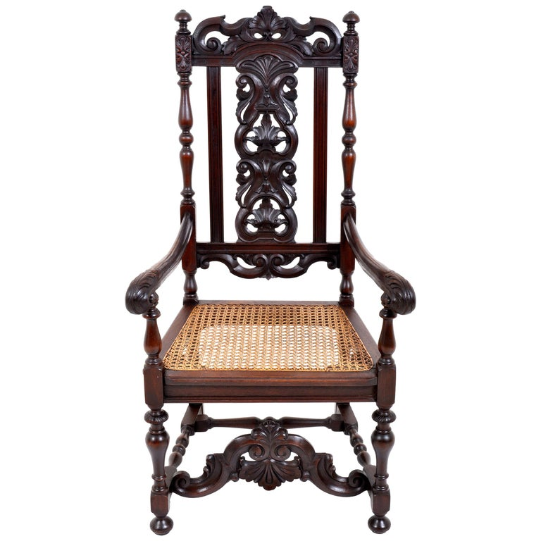 Antique Baroque Carved Walnut Throne Chair, circa 1880 For Sale