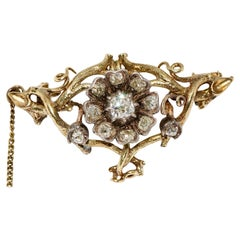 Antique, Baroque Gold Diamond Brooch