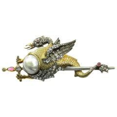 Antique Baroque Pearl and 1 Carat Diamond Dragon Brooch in Gold, circa 1890