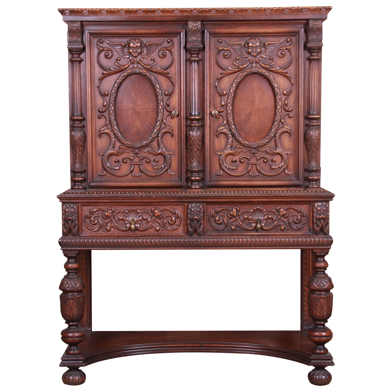 Antique Baroque Renaissance Carved Walnut Bar Cabinet