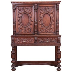 Antique Baroque Renaissance Carved Walnut Bar Cabinet
