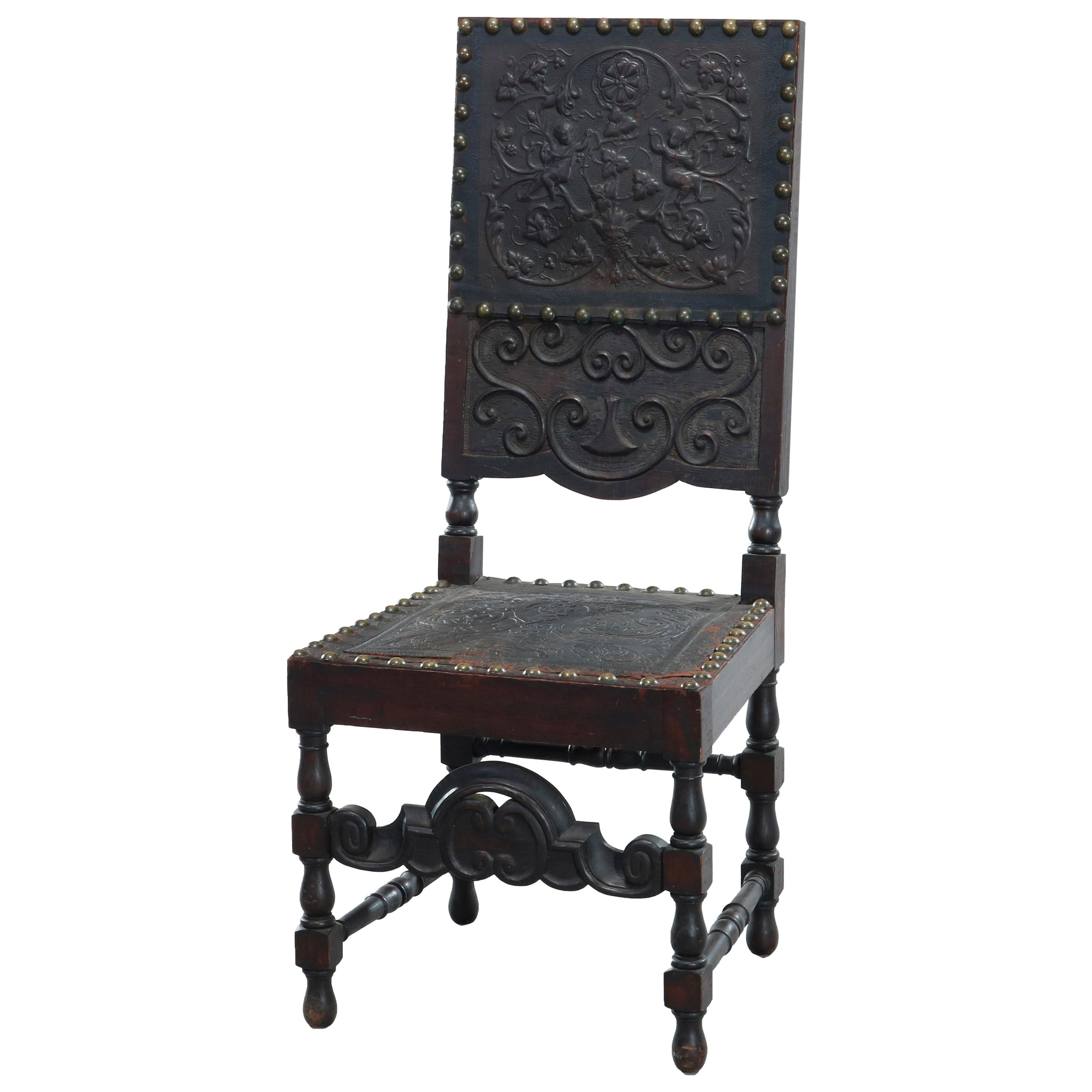 Antique Baroque Style Carved Oak & Tooled Leather Desk Side Chair, Circa 1900