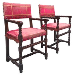 Antique Baroque-Style Walnut and Velvet Armchairs, a Set of 2