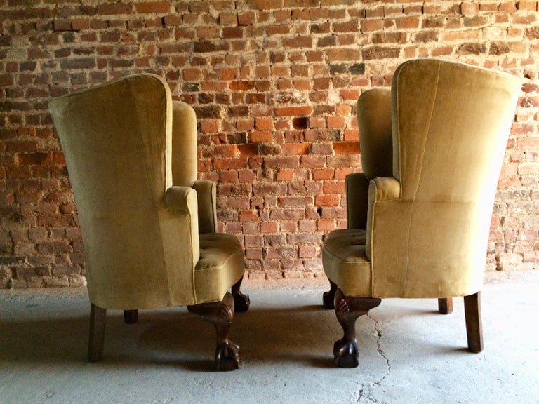 Antique Barrel Back Armchairs Porters Chairs Pair of George II Style, circa 1860 For Sale 4