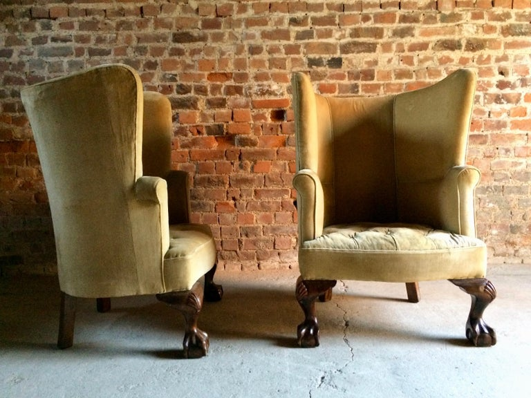 Antique Barrel Back Armchairs Porters Chairs Pair of George II Style, circa 1860 For Sale 5