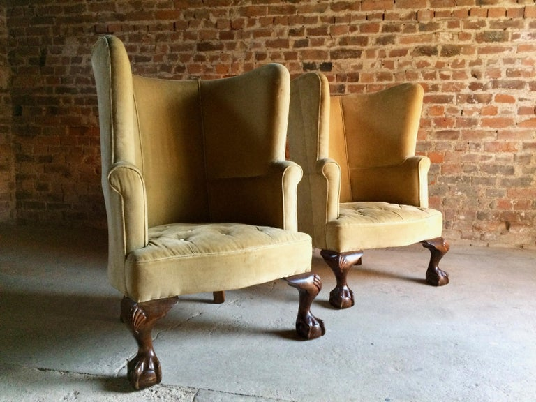 Antique Barrel Back Armchairs Porters Chairs Pair of George II Style, circa 1860 For Sale 6