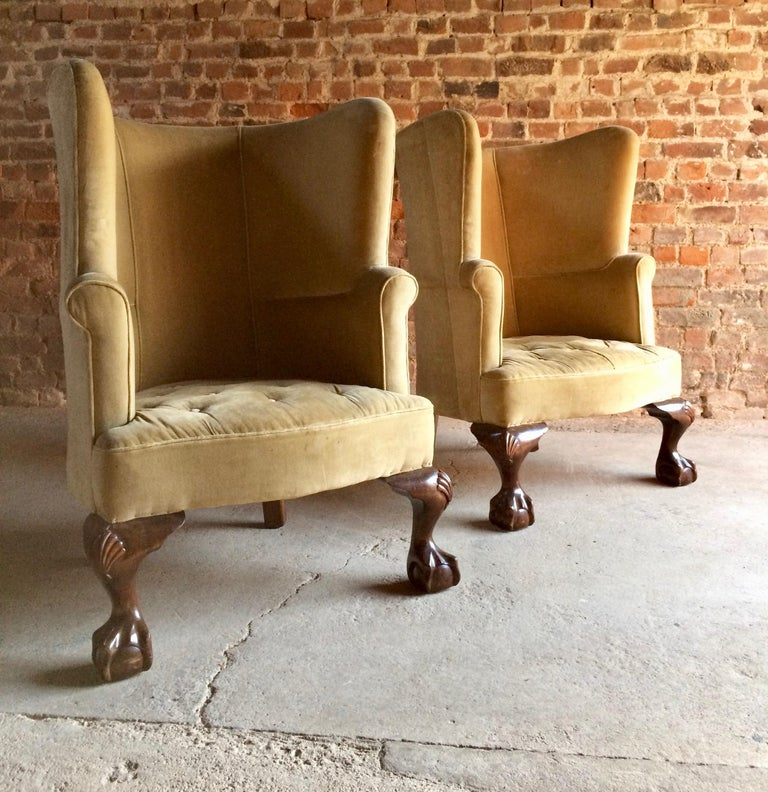 English Antique Barrel Back Armchairs Porters Chairs Pair of George II Style, circa 1860 For Sale