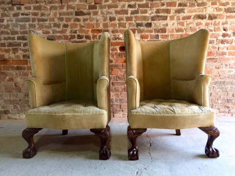 Antique Barrel Back Armchairs Porters Chairs Pair of George II Style, circa 1860 For Sale 1