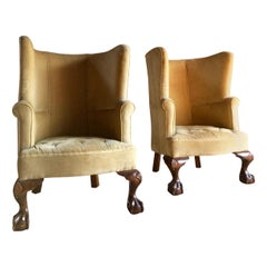 Antique Barrel Back Armchairs Porters Chairs Pair of George II Style, circa 1860