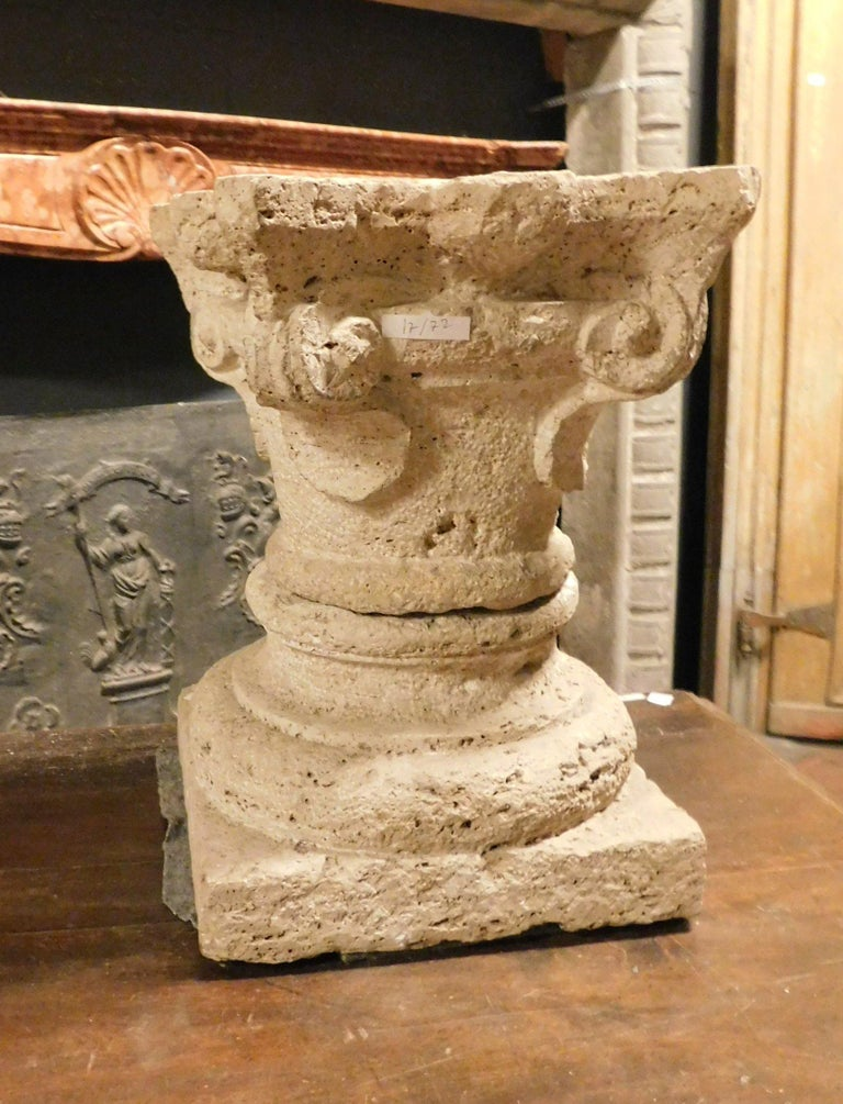 Hand-Carved Antique Base and Capital of a Column, Carved Sandstone, 1700, Italy For Sale