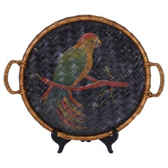 Antique Basket Tray with Painted Parrot
