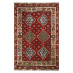 Antique Basra Burgundy and Spectral Wool Kilim Rug