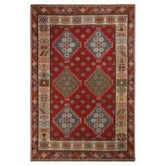 Antique Basra Burgundy and Spectral Wool Kilim Rug