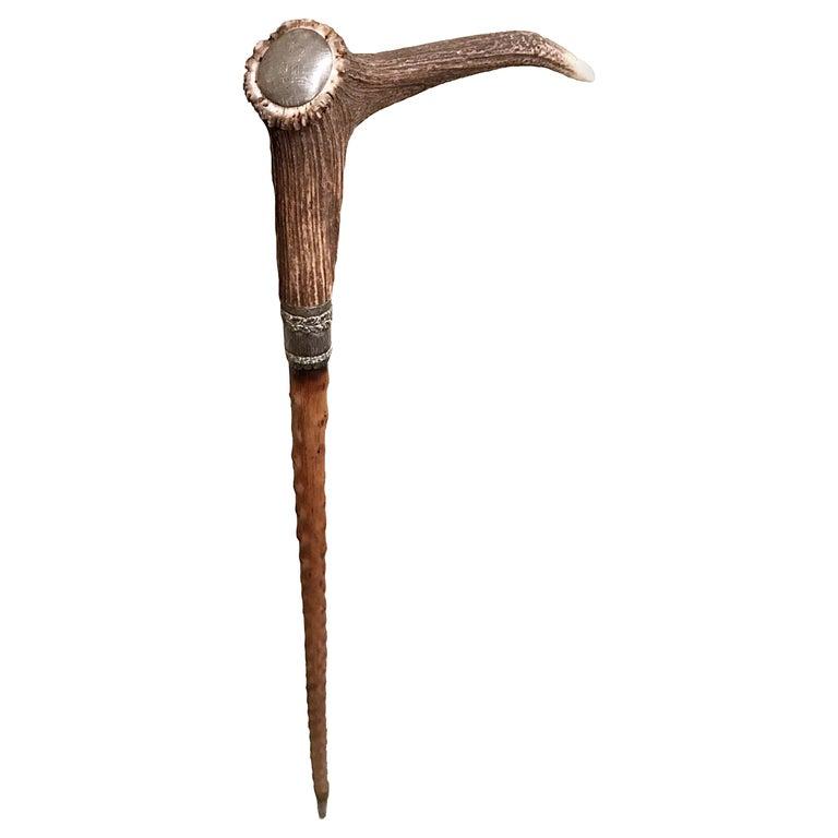 Antique Bavarian Hunting Antler Walking Stick, 1910s, Germany