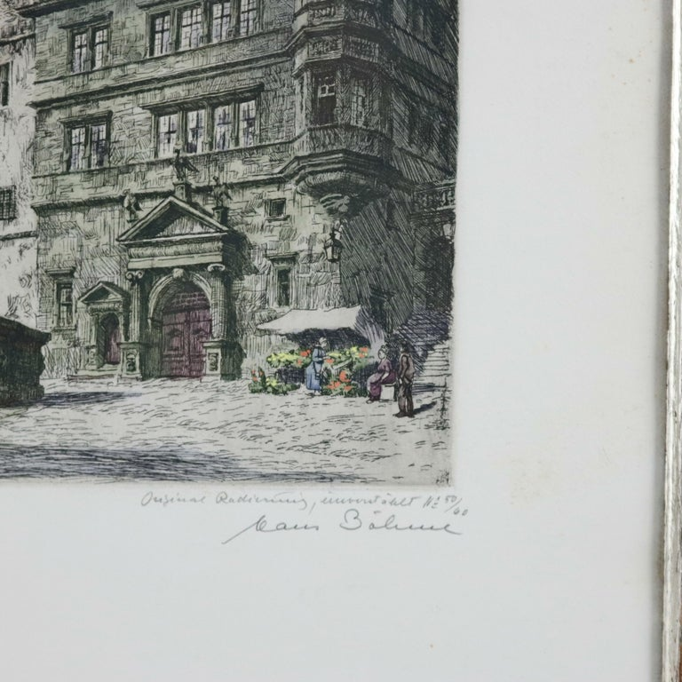 Antique Bavarian Pencil Signed Etchings of Rothenburg Street Scenes, circa 1900 For Sale 4
