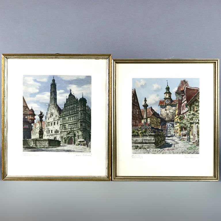 Antique Bavarian Pencil Signed Etchings of Rothenburg Street Scenes, circa 1900 For Sale 5