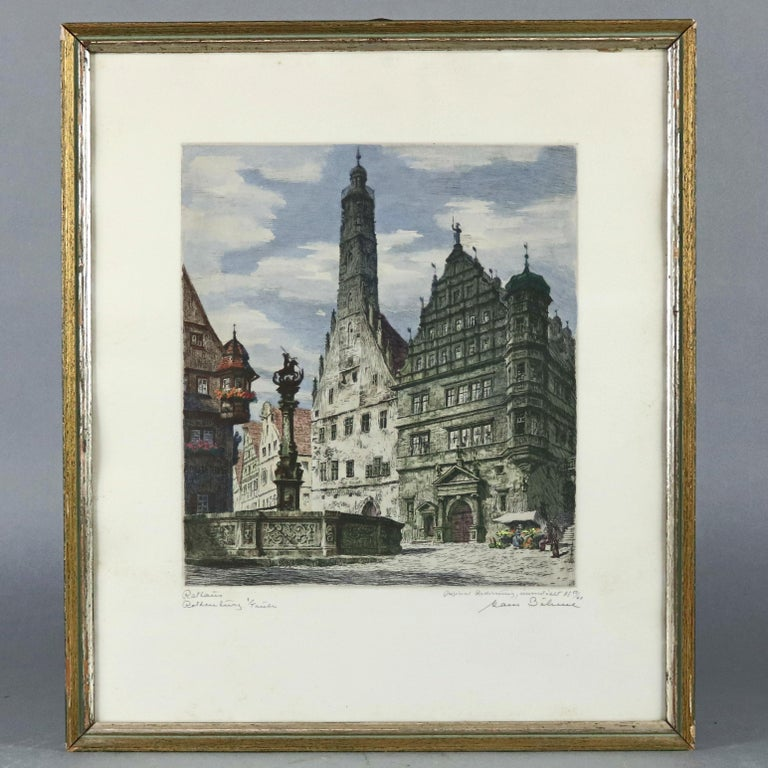 A pair of antique Bavarian etchings depict street scenes of Rothenburg, pencil titled lower right and signed lower left, framed, circa 1900  ***DELIVERY NOTICE – Due to COVID-19 we are employing NO-CONTACT PRACTICES in the transfer of purchased